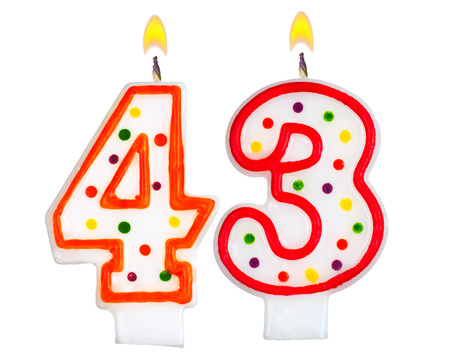 Birthday candles number forty three isolated on white background photo