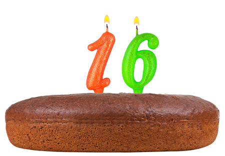 number 16: birthday cake with candles number 16 isolated on white background Stock Photo
