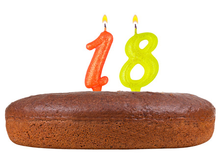 happy birthday 18: birthday cake with candles number 18 isolated on white background