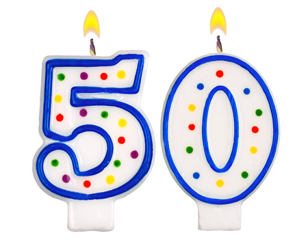 Birthday candles number fifty isolated on white background Foto de archivo