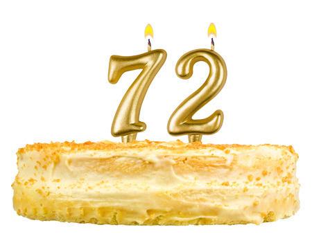 seventy two: birthday cake with candles number seventy two isolated on white background