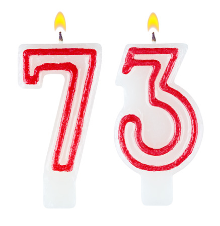 Birthday candles number seventy three isolated on white background photo