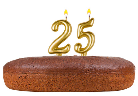 25th: birthday cake with candles number 25 isolated on white background