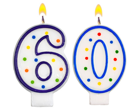 sixty: Birthday candles number sixty isolated on white background Stock Photo