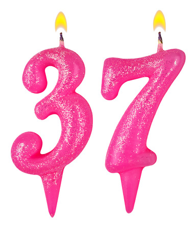 Birthday candles number thirty seven isolated on white photo