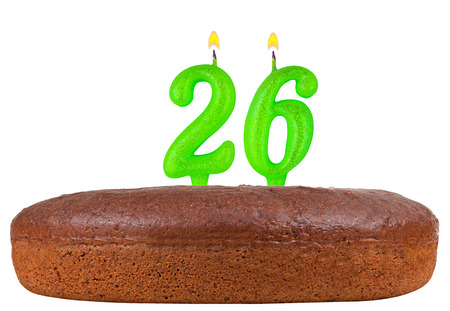 26: birthday cake with candles number 26 isolated on white background Stock Photo