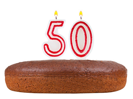 number 50: birthday cake with candles number 50 isolated on white background Stock Photo