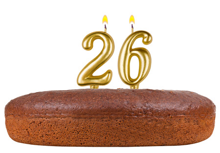 fancy pastry: birthday cake with candles number 26 isolated on white background Stock Photo