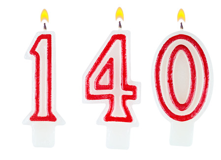 0 1 year: candles number one hundred forty isolated on white background Stock Photo