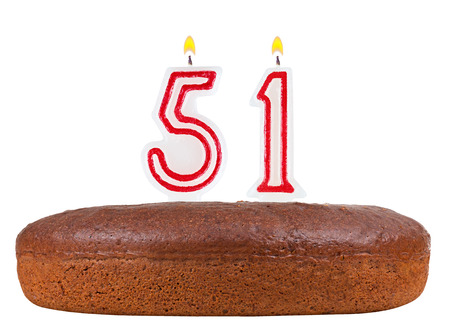 51: birthday cake with candles number 51 isolated on white background Stock Photo