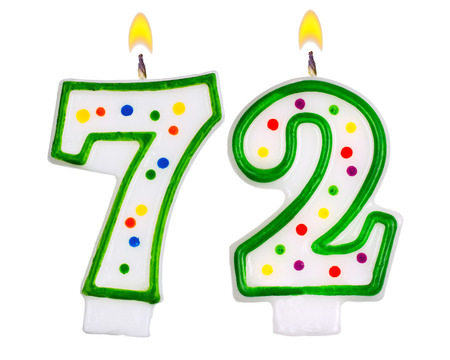 seventy two: Birthday candles number seventy two isolated on white background