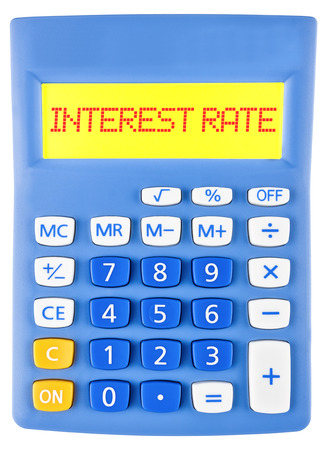 white interest rate: Calculator with INTEREST RATE on display isolated on white background Stock Photo