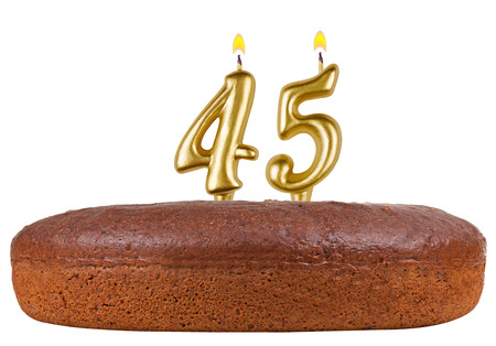 45th: birthday cake with candles number 45 isolated on white background