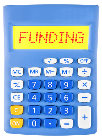 Calculator with FUNDING on display on white background