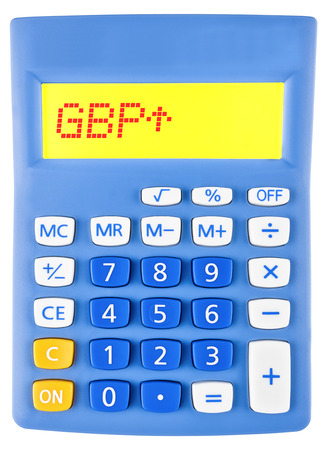 gbp: Calculator with GBP on display on white background