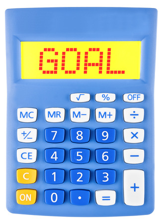 budgetary: Calculator with GOAL on display isolated on white background Stock Photo