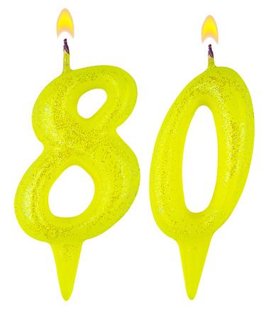 achtzig: Geburtstagskerzen Zahl achtzig auf wei�em Hintergrund Lizenzfreie Bilder