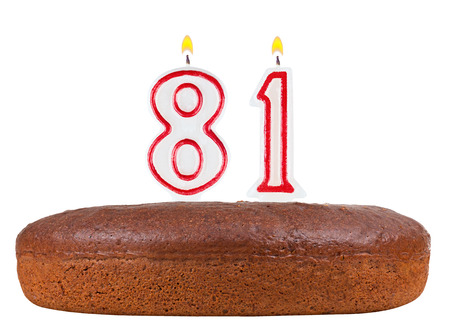 81: birthday cake with candles number 81 isolated on white background Stock Photo
