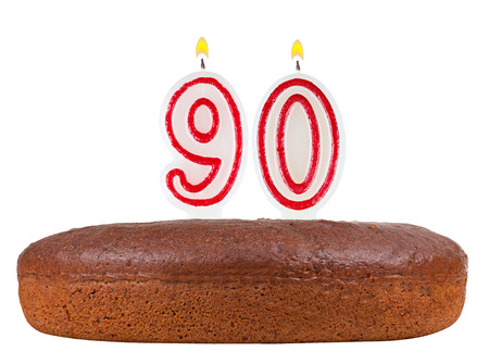 90th: birthday cake with candles number 90 isolated on white background Stock Photo