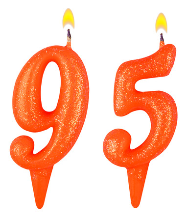 95: Birthday candles number ninety five isolated on white background