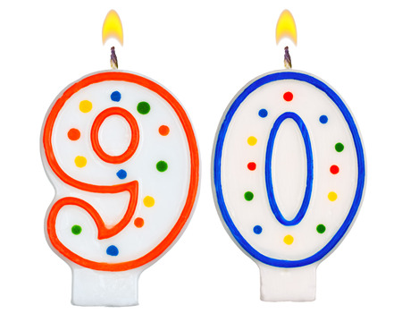 Birthday candles number ninety isolated on white background