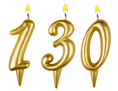 0 1 year: candles number one hundred thirty isolated on white background Stock Photo