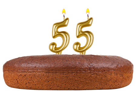 fancy pastry: birthday cake with candles number 55 isolated on white background Stock Photo