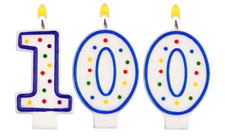 0 1 year: Birthday candles number one hundred isolated on white background