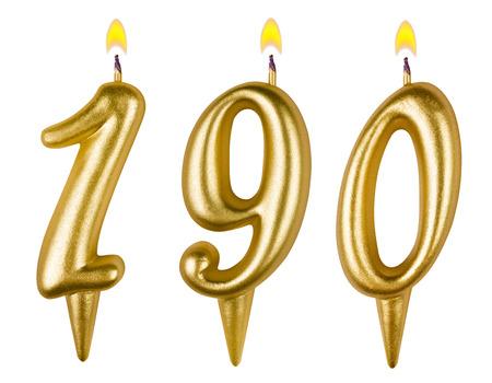 0 1 year: candles number one hundred ninety isolated on white background Stock Photo