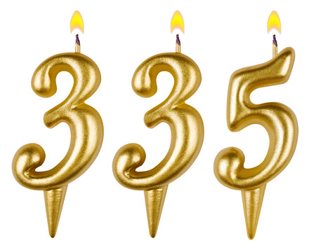 thirty five: candles number three hundred thirty five isolated on white background