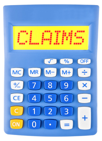 Calculator with CLAIMS  isolated on display on white background Stock Photo