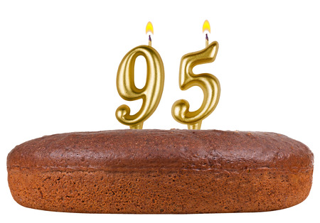 95: birthday cake with candles number 95 isolated on white background