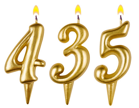 thirty five: candles number four hundred thirty five isolated on white background