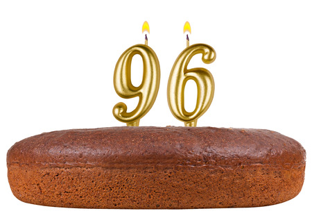 fancy pastry: birthday cake with candles number 96 isolated on white background