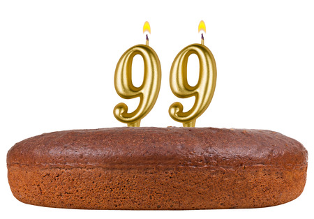 99: birthday cake with candles number 99 isolated on white background