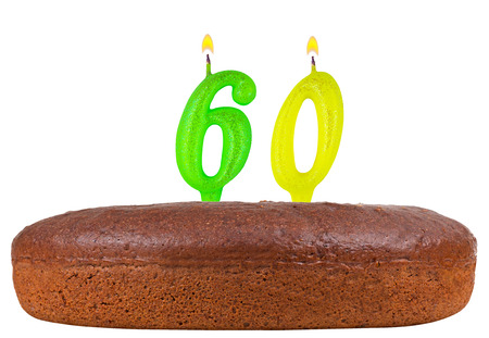 60th: birthday cake with candles number 60 isolated on white background