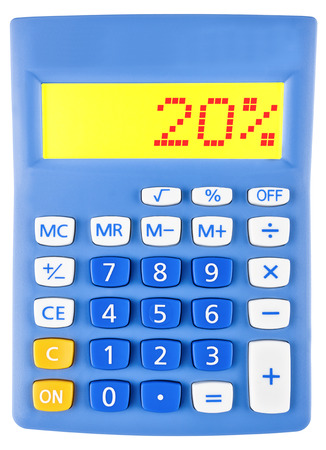 Calculator with 20 on display on white background photo