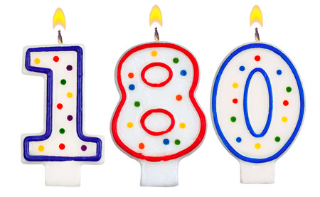0 1 year: candles number one hundred eighty isolated on white background Stock Photo