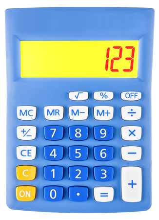 budgetary: Calculator with 123 on display on white background