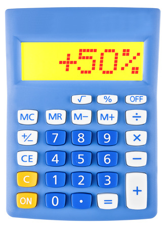 Calculator with 50 on display on white background photo