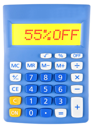 Calculator with 55OFF on display on white background photo