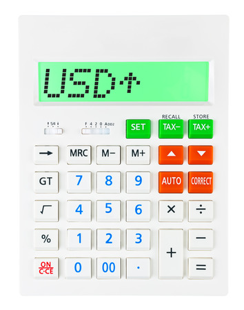 usd: Calculator with USD on display on white background