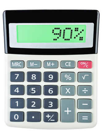 90: Calculator with 90 on display on white background