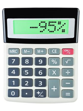 95: Calcolatrice con -95 in mostra su sfondo bianco Archivio Fotografico