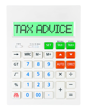 budgetary: Calculator with TAX ADVICE on display isolated on white background Stock Photo