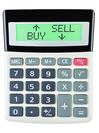 budgetary: Calculator with BUY SELL on display isolated on white background