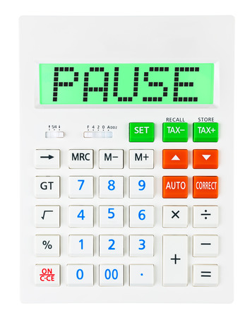 budgetary: Calculator with PAUSE on display isolated on white background Stock Photo