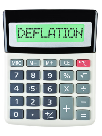 deflation: Calculator with DEFLATION on display isolated on white background