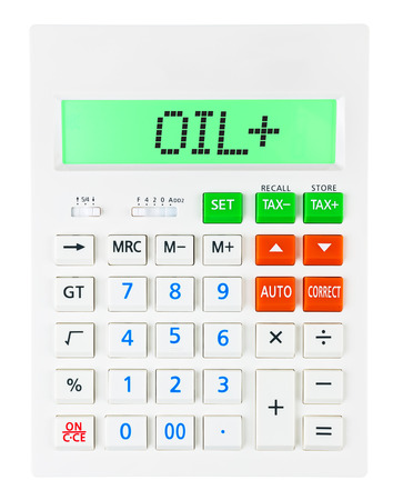 budgetary: Calculator with OIL on display on white background