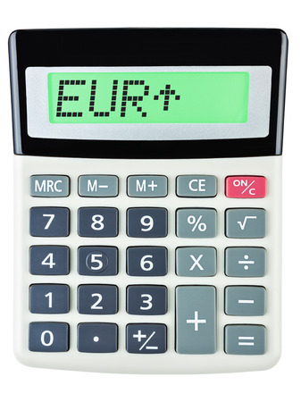 budgetary: Calculator with EUR on display on white background Stock Photo